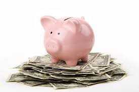 pink pig standing on cash